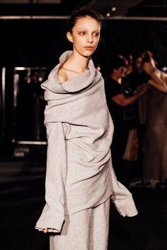 Relaxed grey felt wool jumper backstage at Joseph AW15 LFW. See more here: http://www.dazeddigital.com/fashion/article/23781/1/joseph-aw15