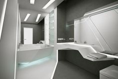 Terrific Futuristic Bathroom Design Ideas With Lots Of Shelves Wall