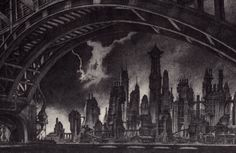 Looking west from across the Gotham River, by Anton Furst.
