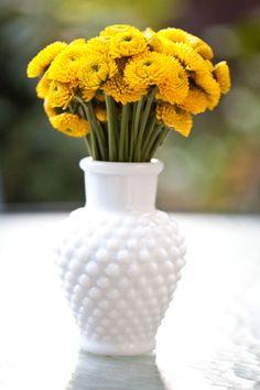 flowers + milk glass :)