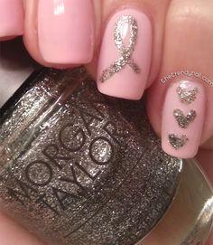 Breast Cancer Awareness Nail Art  #nailart #nails #morgantaylor #thinkpink