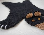 Flat black bear rug/ mat/ blanket