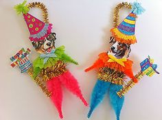 Australian shepherd #birthday party #vintage #style chenille ornaments set of 2, View more on the LINK: http://www.zeppy.io/product/gb/2/361581514486/