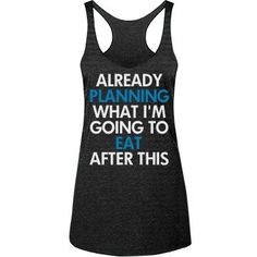Fitness Funny Workout Tanks - Already planning what I'm going to eat after this workout! Funny fitness tank tops to hit the gym in. I run for the food. Snap up a cute fitness tank to wear next time you hit the gym. Funny Workout Tanks, Workout Humor, Workout Tank Tops, Funny Running Shirts, Running Tanks, Funny Workout Clothes, Funny Tanks, Workout Attire, Workout Wear