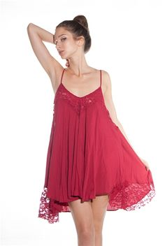 Sway with Me Lace Panel Babydoll Cami Dress - Burgundy from Avec at Lucky 21
