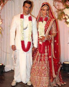 Bipasha Basu and Karan Singh Grover on their wedding day - sabysachi- lehenga - bride - bridal lehenga