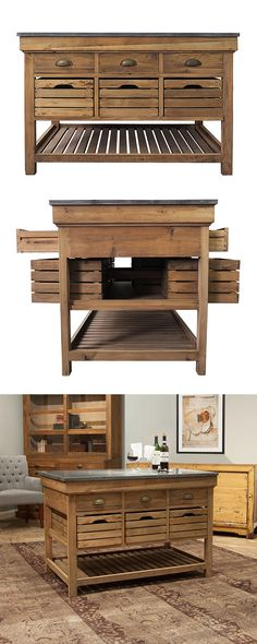 Rustic meets refined in our Carpenter's Kitchen Island. Forged from solid pine…