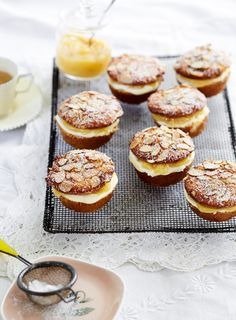 Gorgeous moist cakes get filled with lemon curd and mascarpone, topped with a dusting of icing sugar. Simple and delicious.