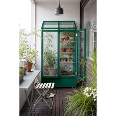 Glass and Pinewood Balcony Greenhouse