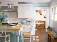 cottage instincts: ::Goodbye Old Kitchen, Hello Someday Kitchen:: Aqua Kitchen, Old Kitchen, White Kitchen Cabinets, Kitchen Decor, Kitchen Ideas, Kitchen White, Kitchen Inspiration, Color Inspiration, Kitchen Island