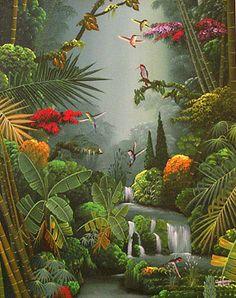 Jungle Flowers, Forest Mural, Jungle Art, Haitian Art, Caribbean Art, Virtual Art, Mural Wall Art, Tropical Art, Cool Art Drawings