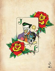 Joker Card Neo-Traditional, Old School Tattoo Flash Print. $5.00, via Etsy.