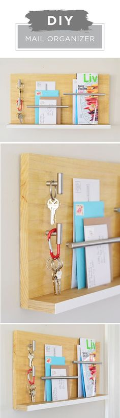 Bring style and organization to your home with this DIY mail organizer from Liberty Hardware. Light wood and stainless steel hardware creates a sleek, modern look in this fun hanging wall organizer. Use KILZ Primer to prep your wood before painting an accent stripe for a pop of color. Click here to see the rest of this easy tutorial.