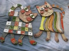 Ceramic Pottery, Ceramic Art, Slab Ceramics, Clay Cats, Kids Clay, Ceramic Figures, Ceramic Animals, Clay Design, Cold Porcelain