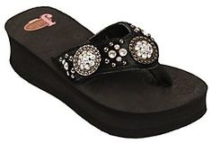 Justin® Misty™ Ladies Black Calf Hair with Round Conchos Jeweled Flip-Flop by M