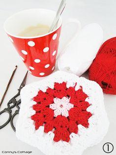 Crochet Hexagon Granny, tutorial in German