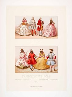 1888 Chromolithograph 18th Century France Mode Fashion Hoop Skirt Costume LCH4