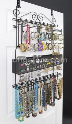 Over the Door Jewelry Organizer #closetorganization #LifestyleJewelry