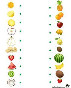 nl , search on each side the same fruit , free printable. Preschool Writing, Preschool Education, Preschool Learning Activities, Preschool Activities, Teaching Kids, Preschool Food, Autism Education, Nutrition Activities, Visual Perception Activities