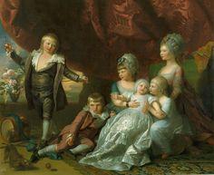 """Princess Augusta, Princess Elizabeth, Prince Ernest, Prince Augustus, Prince Adolphus and Princess Mary"", Benjamin West, 1776; Royal Collection Trust 404574"