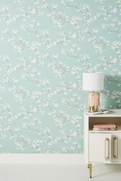 Branches Wallpaper by Anthropologie in Blue, Wall Decor - Modern Wallpaper Bedroom, Accent Wall, Room Wallpaper, Wallpaper, Wall, Home Decor, Floral Wallpaper, Wallpaper Manufacturers, Designer Wallpaper