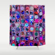 Bright polka dot. Shower Curtain by Mary Berg - $68.00   #ShowerCurtain society6.com/... #showercurtains #society6 #polkadot #purple  #bathroom #textile #homedesign #blue