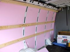 foam board insulation installed in a conversion van