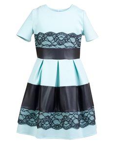 f5576cd06d Wytworna sukienka z wstawkami z koronki 152-164 Atena miętowy
