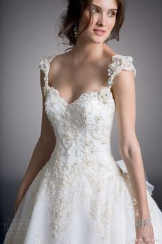 eve of milady couture wedding dress 2014 ball gown with cap sleeves style 4319 close up