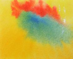 watercolor painting in the Waldorf School – exercise 15 with lemon yellow, Prussian blue, vermilion red and golden yellow
