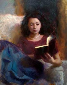 Jaidyn Reading A Book 1. Karen Whitworth (American Contemporary).