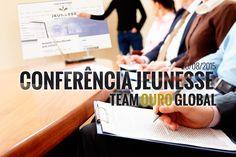 Hoje, dia 20 de Agosto, pelas 20 horas (horário de Brasília) vai decorrer uma apresentação geral da empresa Jeunesse pela equipe Team Ouro Global. Empresa, produtos, plano de ganhos e muito mais vão ser falados nesta apresentação e por isso TODOS que querem conhecer um pouco mais a cerca da nossa empresa são bem vindos! Sala de conferência: https://ourojeunesse.clickwebinar.com/conferencia-jeunesse-team-ouro-global ID Celular: 352-943-827