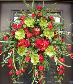 Spring Wreaths Poppy Wreath Spring Door Decoration by LuxeWreaths