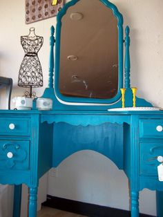 Vanity in Turquoise Distressed by trinaroseboutique on Etsy, $300.00