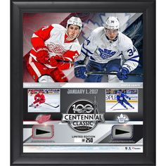 """Fanatics Authentic 2017 NHL Centennial Classic Detroit Red Wings vs. Toronto Maple Leafs Framed 15"""" x 17"""" Match-Up Collage with Pieces of Game-Used Puck - Limited Edition of 250 - $99.99"""