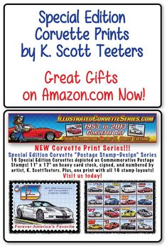 Online shopping from a great selection at K. Postage Stamp Design, Postage Stamps, Corvette History, Automotive Art, All Art, Guy, Corvettes, Gift Ideas, Amazon