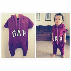 Upcycled hoodie into a toddler romper. Need to learn how to make these for little dude!