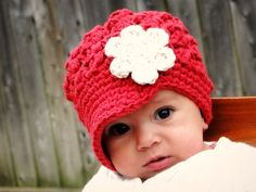 Crochet Baby Hat, kids hat, newsboy hat, newborn-preteen size, custom colors, visor-brim hat, hat with flower. $20.00, via Etsy.  this might have to be a bday gift for brena jo