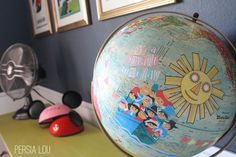 Small World Decoupage Globe (Vintage Disneyland Room) by Persia Lou