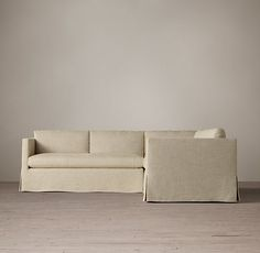 Belgian Classic Shelter Arm Slipcovered Customizable Sectional