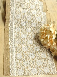 A Vintage Wedding table runner ivory lace table by HotCocoaDesign