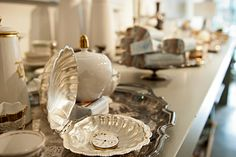 Antique silver & china at   Heather Ross [ in house ]  photo Emi Uchida