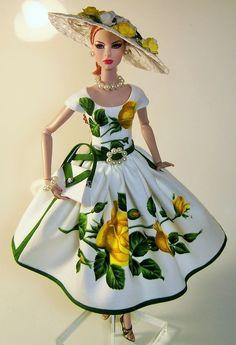 Vintage Roses ylo handmade dress hat outfit OOAK Victoire Roux Silkstone Barbie #Handmade