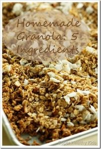 Granola: Only 5 Ingredients. I am sure it is not super healty because of the oil, but it was fast and pretty yummy! I added almonds and craisins and had it with skim milk.
