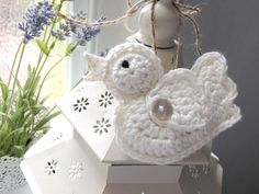 Handmade crochet bird hanging decoration, perfect for a shabby chic house or even a wedding