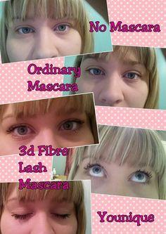 No Mascara, Ordinary Mascara then Younique's 3D Fibre Lash Mascara  Order at https://www.youniqueproducts.com/CeeCeeLashes