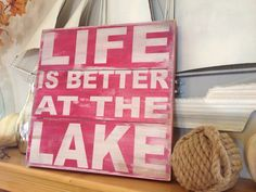 Life is better at the lake  hand painted wood plank by kspeddler, $49.00