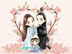 With the movie and the drama about to air it's time for some illustrations and chibis ofThree Lives Three Worlds, Ten Miles of Peach Blossoms! Chibis    Illustrations