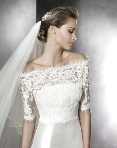 Romantic Off-the-shoulder bolero with strapless Mikado gown