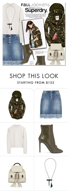 """""""The Cover Up – Jackets by Superdry: Contest Entry"""" by nanawidia ❤ liked on Polyvore featuring Steve J & Yoni P, Acne Studios, Balmain, Gucci, Superdry and Enföld"""